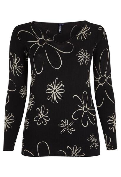 Trui met V-hals en bloemenprint - Zwart