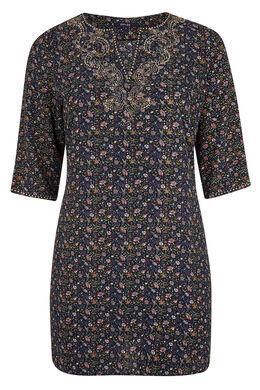 Robe tunique fleurie, détail de clous, Canard