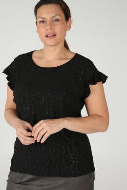 T-shirt met kleine volants, Zwart