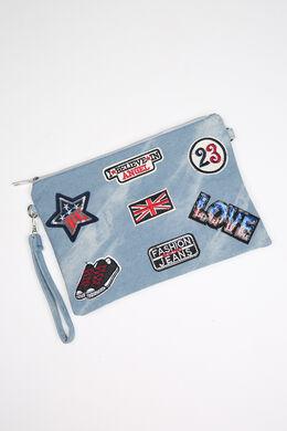 Handtasje in jeans met patches, Denim