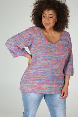 Pull à rayures manches 3/4, multicolor