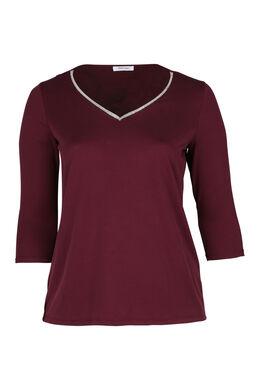 T-shirt met juweelkraag, Pruim