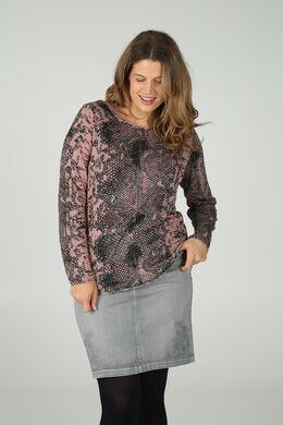 T-shirt met slangenhuidprint, Oudroze