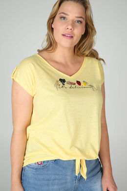 "T-shirt ""It's delicious"" avec broderies, Jaune"