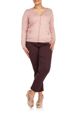Cardigan met lurex, Blush