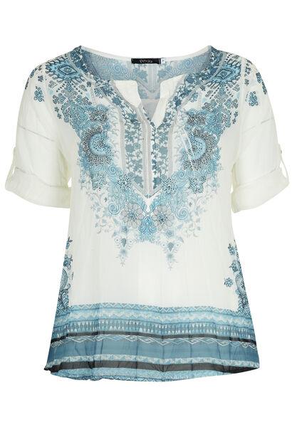 Shirt in voile met bloemetjesprint - Lichtblauw