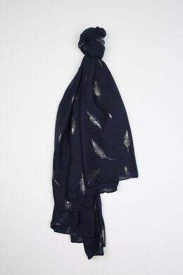 Sjaal met veren erop, Marineblauw