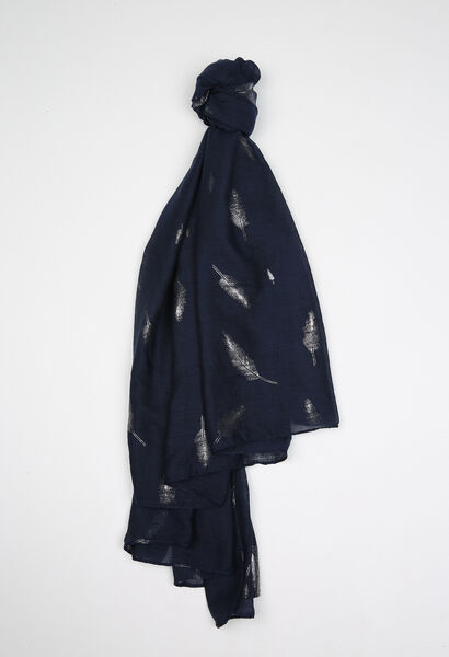 Sjaal met veren erop - Marineblauw