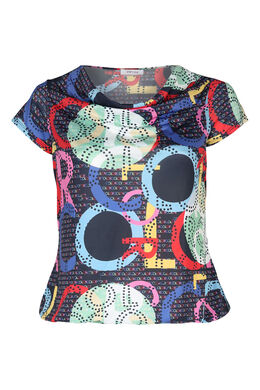 T-shirt in koel tricot met watervalkraag, Multicolor