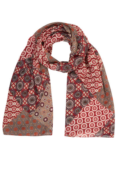 Sjaal met bebloemde mozaïekpatch - Bordeaux