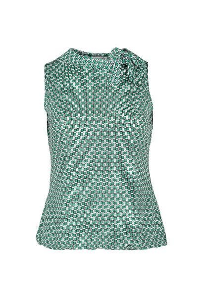 Top met strikkraag - Groen