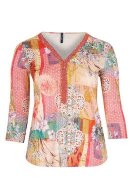 T-shirt van bedrukt tricot met kralenhals, Koraal