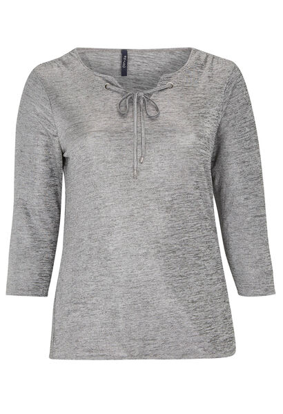 T-shirt met ringetjes, glanzend tricot - Gris Chine