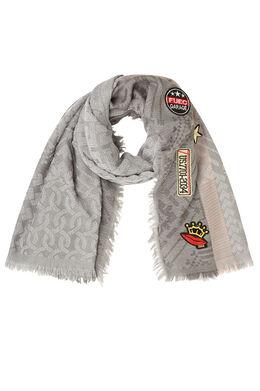 Grote sjaal van jacquard met patches, Grijs