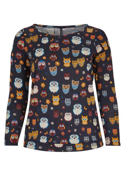 T-shirt van bedrukt tricot met uilenprint - Marineblauw