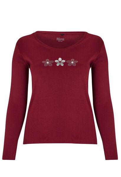 T-shirt coton bio dessin 3 marguerites - Bordeaux