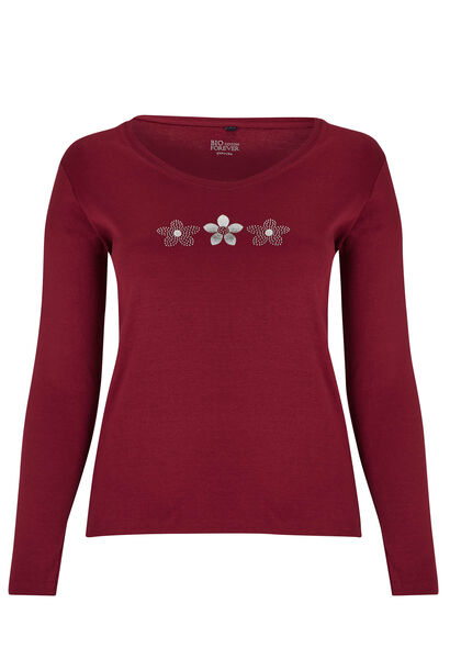 T-shirt Biokatoen met 3 margrieten - Bordeaux