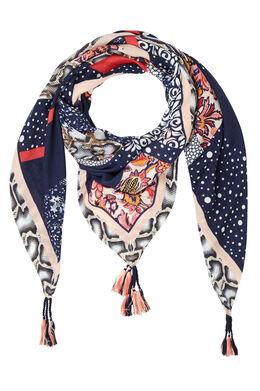 Grote vierkante sjaal met kwastjes, Marineblauw