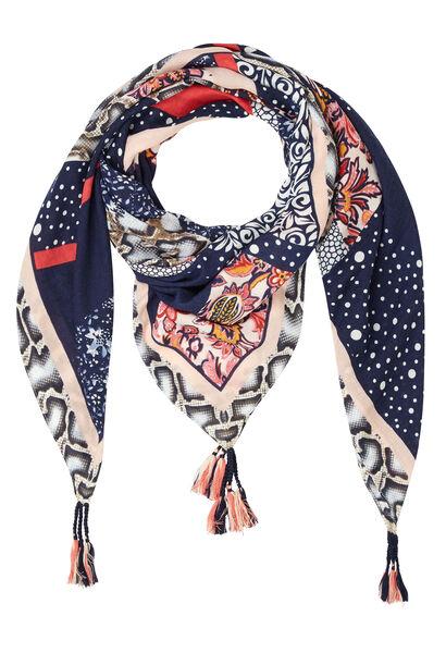 Grote vierkante sjaal met kwastjes - Marineblauw