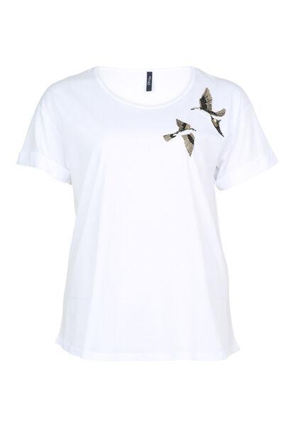 T-shirt brodé oiseaux et sequins - Blanc