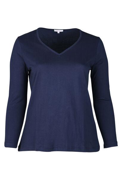 Lang T-shirt met kant - Marineblauw