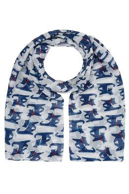 Sjaal bedrukt met katten, Wit