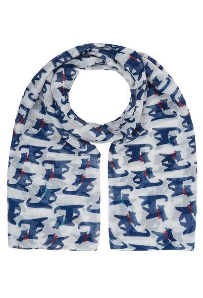Sjaal bedrukt met katten - Wit
