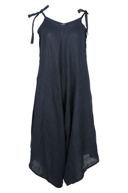 Mouwloze jumpsuit van linnen, Marineblauw