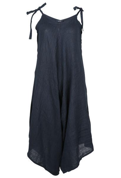 Mouwloze jumpsuit van linnen - Marineblauw