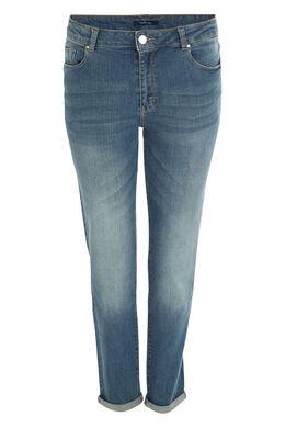 7/8-jeans met omslagen en scheuren, Denim