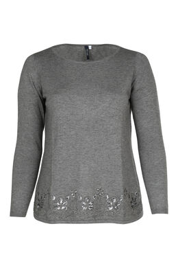 Pull broderie et sequins, Gris Chine