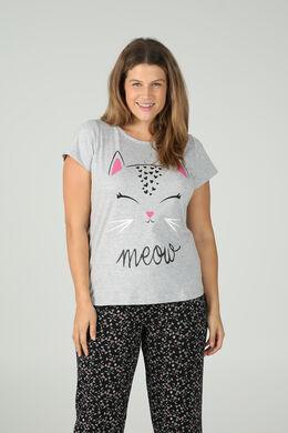 T-shirt met kattenhoofd, Gris Chine