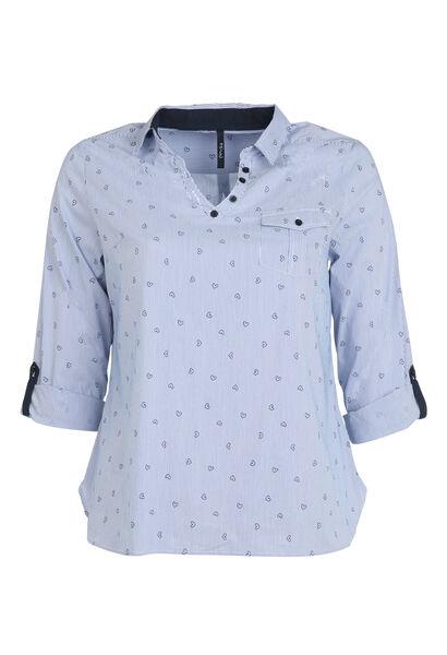 Gestreept hemd met hartjes - Marineblauw