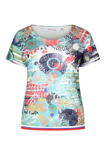 T-shirt en dentelle imprimée - multicolor