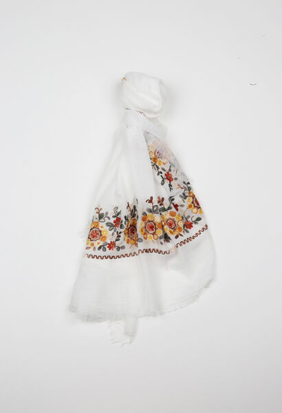 Foulard brodé de fleurs - Blanc