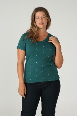 T-shirt met stippen van biokatoen, Groen