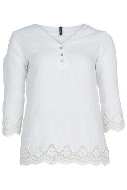 Blouze van linnen met borduursel en kant, Wit