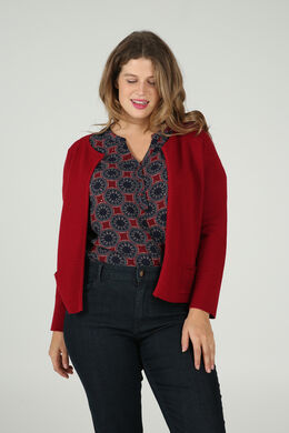 Cardigan in ribtricot, Bordeaux