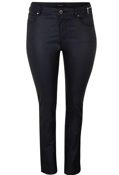 Gecoate, smalle broek met 5 zakken - Marineblauw