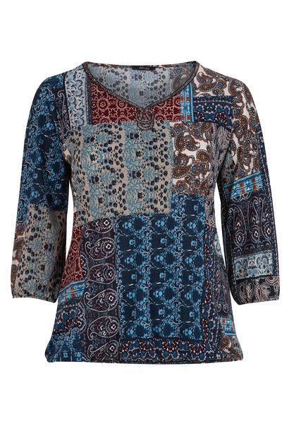 T-shirt in bedrukt tricot - Bordeaux