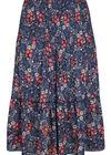 Rok in celvezel met bloemetjes op., Marineblauw