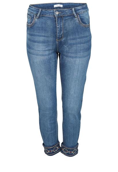Jeans broderies dans le bas - Denim