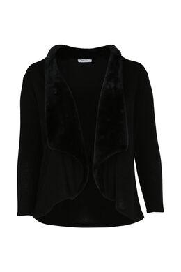 Cardigan in tricot, kraag in imitatiebont, Zwart