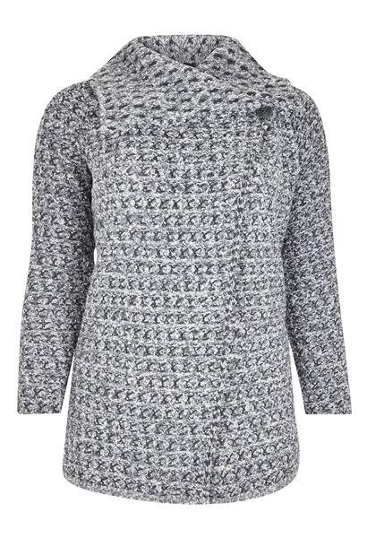 Vest met grote kraag, warm tricot - Lichtgrijs