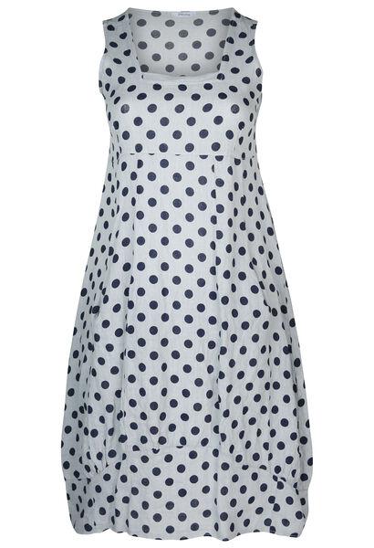 Lange jurk in linnen met stippen - Lichtgrijs