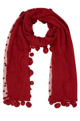 Effen sjaal in materiaalmix, Tomaat