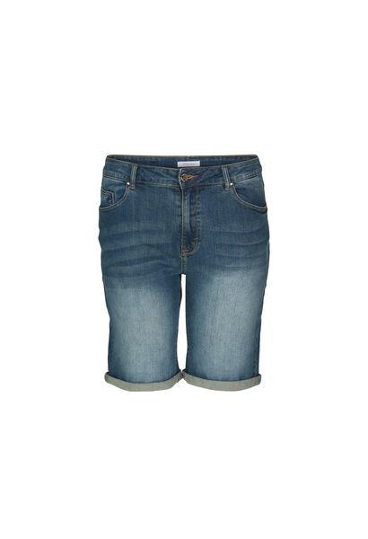 Jeansshort met omslagen - Denim