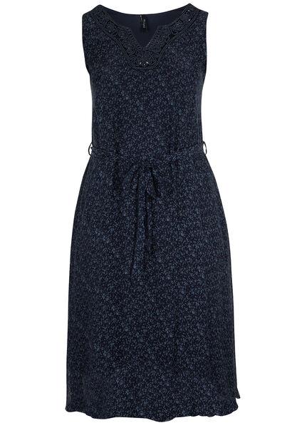 Lange jurk in bedrukte zijde - Marineblauw