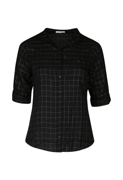 Geruite blouse - Zwart