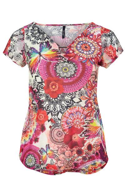 T-shirt in bedrukt kreuktricot - Multicolor